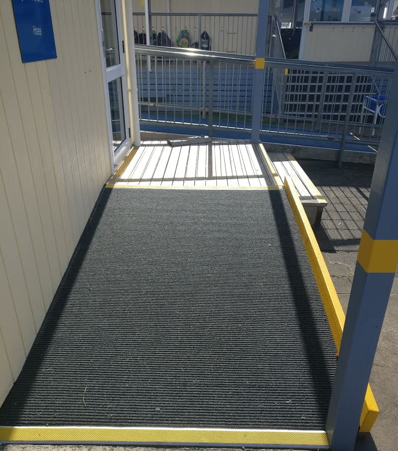 Slim Rib outdoor carpet on ramp