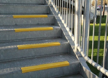 Fibreglass stair nosing application